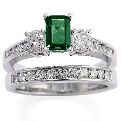 14k Gold Emerald Diamond Engagement Ring Set R1623