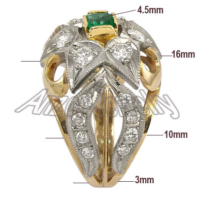Russian Style 18k Gold Diamond & Emarald Ring R1618