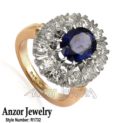 Russian Style Sapphire Diamond Ring 18K R1732