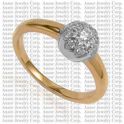 Russian Jewelry in 14k Gold Diamond Ring R1750