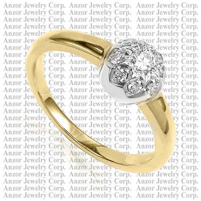 Russian Jewelry in 14k Gold Diamond Ring R1756