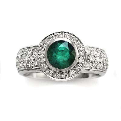 14k Gold Emerald and Diamond Engagement Ring R1774