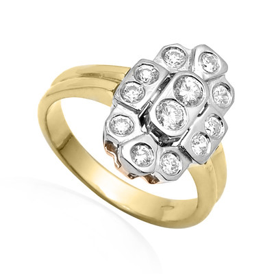 14k Gold Diamond Ring Russian Jewelry R1799