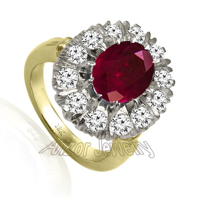 Russian Style Ruby Diamond Ring 18K R1952