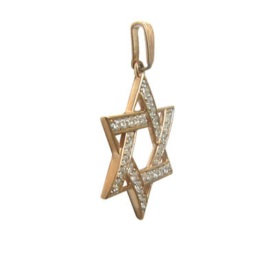 POK396 Gold Color Plated Stainless Steel Cut-out Concentric Star of David Charm Pendant