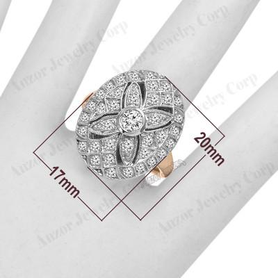 Russian style Diamond Ring 18k Rose & White Gold R1957