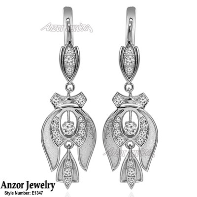 Russian Style Cubic Zirconia Earrings in Silver E1347