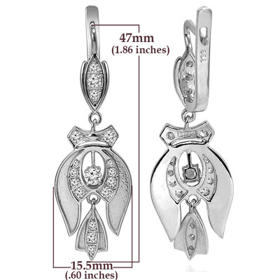 Russian Style Cubic Zirconia Earrings in Silver E1347