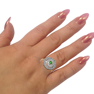 Russian Style Emerald Diamond Ring 14K Gold R1928