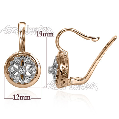 Russian Style Diamond Earrings 14k Gold 585 E1346