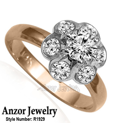 Russian Style Platinum and Rose Gold Diamond Ring R1929