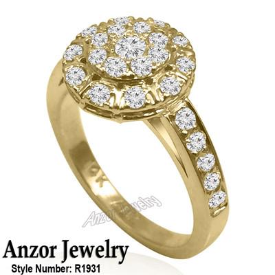 14k Yellow Gold Russian Jewelry Diamond Ring R1931