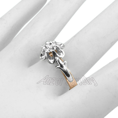 Russian Style Diamond Ring 14k Rose & White Gold R1935