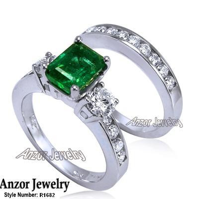 14k Gold Emerald Diamond Engagement Ring Set R1682