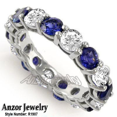 Diamond Blue Ceylon Sapphire Wedding Band 14k Gold R1907