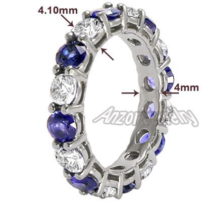 Diamond Blue Ceylon Sapphire Wedding Band 14k Gold R1907