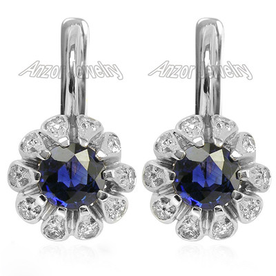 Russian Style Earrings Sapphire Diamond 14k Gold E1415