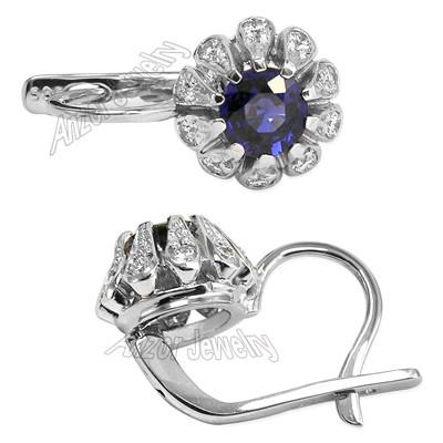 Russian Style Earrings Sapphire Diamond 14k Gold E1415