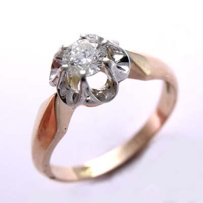 14k Gold Diamond Ring Russian Jewelry R671