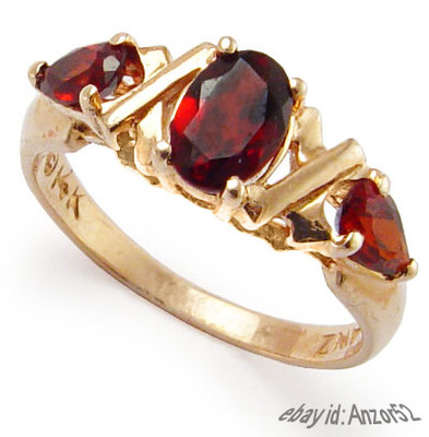 Genuine Garnet 3-Stone Ring 14k Gold R708