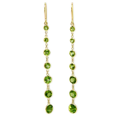 14k Peridot Dangling Earrings E622