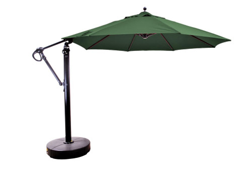 11' Cantilever Umbrella with Base, Forest Green