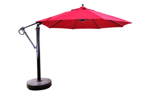 11' Cantilever Umbrella with Base, Jockey Red