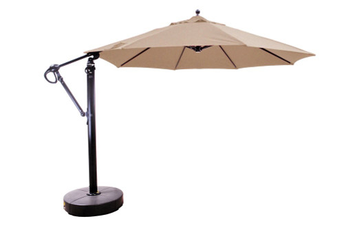 11' Cantilever Umbrella with Base, Heather Beige