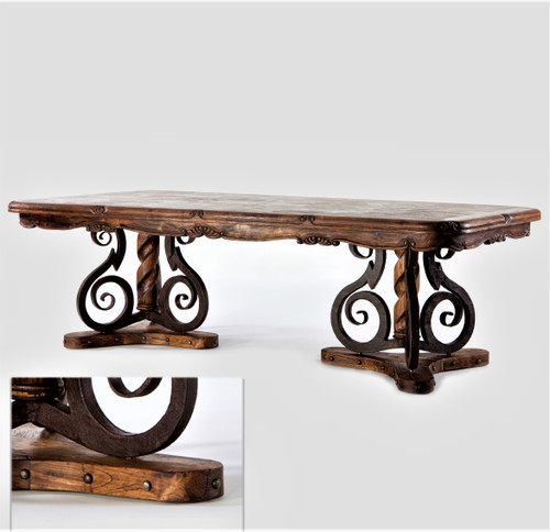 "98"" Rectangular Dining Table with Iron/Wood Base"