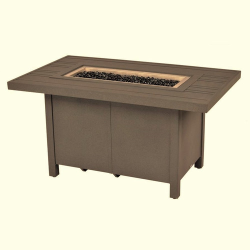 "Tri-Slat - 30"" x 50"" Fire Pit Table, Teak"