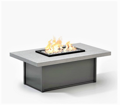 "Concrete 52"" x  32"" Rectangular Coffee Table Fire Pit, Carbon"