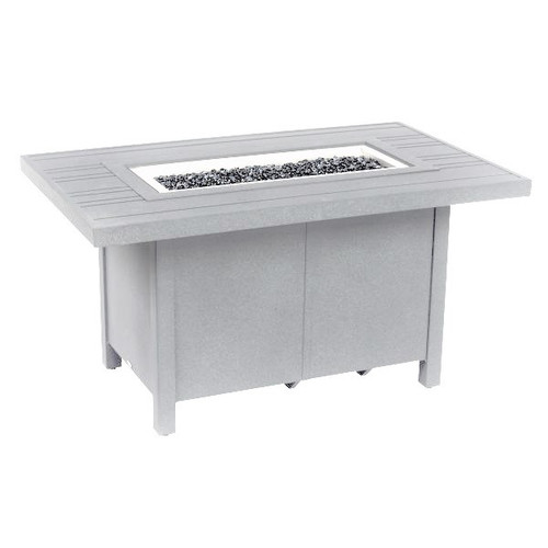 """Tri-Slat - 30"""" x 50"""" Fire Pit Table, Weathered White"""