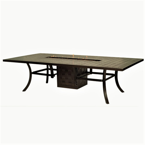 """Classical - 108"""" Rect. Cast Dining Table with Fire Pit"""