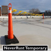 "Never-Rust Temporary Visual Warning Line System meet all applicable  OSHA's standards. Flag height held at 39"" on stanchion and capable of withstanding 16 lb. force at 30"". Our 30 lb. rubber base is made from recycled materials. High visibility polyethylene cone stanchion is very durable and stacks for easy storage."