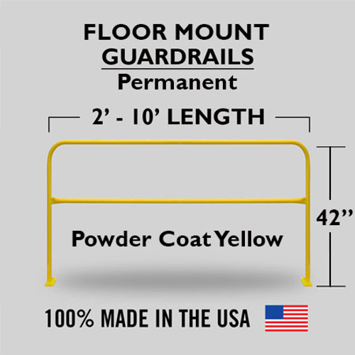 FLOOR MOUNTED SAFETY RAIL 10FT - YELLOW