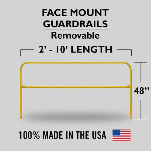YELLOW POWDER COAT FACE MOUNT GUARDRAIL FOR PITS AND VERTICAL WALLS - REMOVABLE