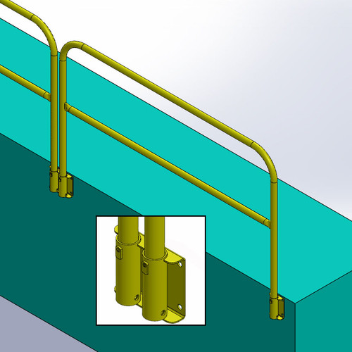 FACE MOUNT GUARDRAIL FOR PITS AND VERTICAL WALLS - REMOVABLE
