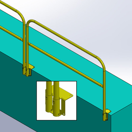 FLUSH MOUNT GUARDRAIL FOR PITS AND VERTICAL WALLS - REMOVABLE