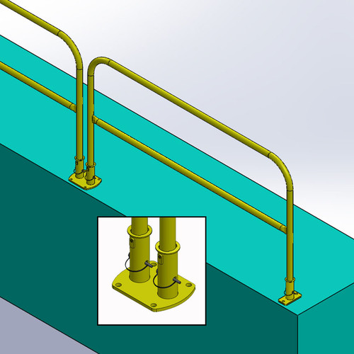 FLOOR MOUNT GUARDRAIL FOR FLOORS - REMOVABLE