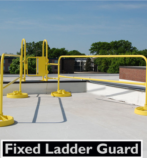 FIXED LADDER GUARDING WITH SRC 360 MOBILE SAFETY RAIL