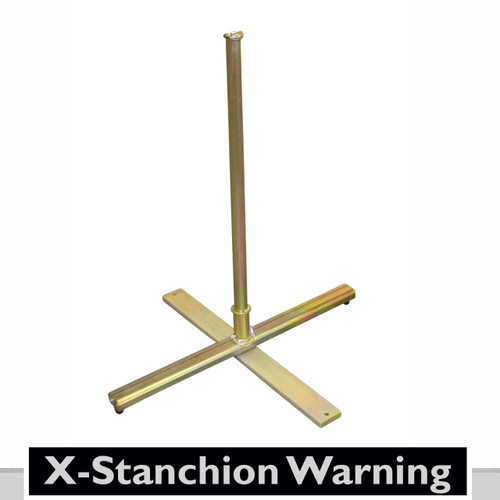 The X-Stanchion is an all steel, yet easily deployable warning line system.  The stanchion folds up for easy transport and handling. Stanchion is perfect for frequent use for use with lighter-duty flag systems. it rugged construction will last for years.