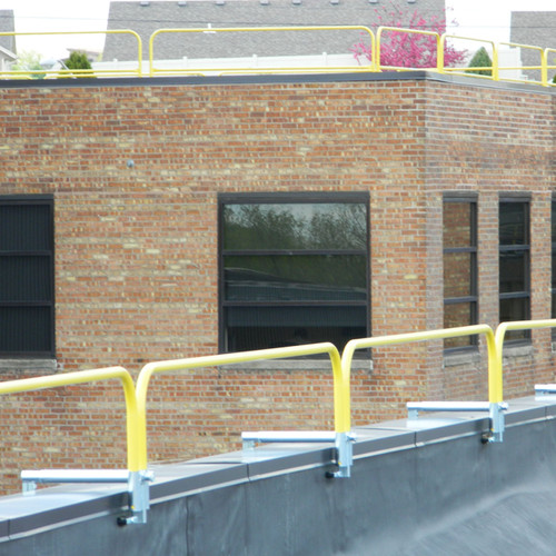 SRC PARAPET WALL CLAMP WITH CUSTOM HEIGHT RAILINGS