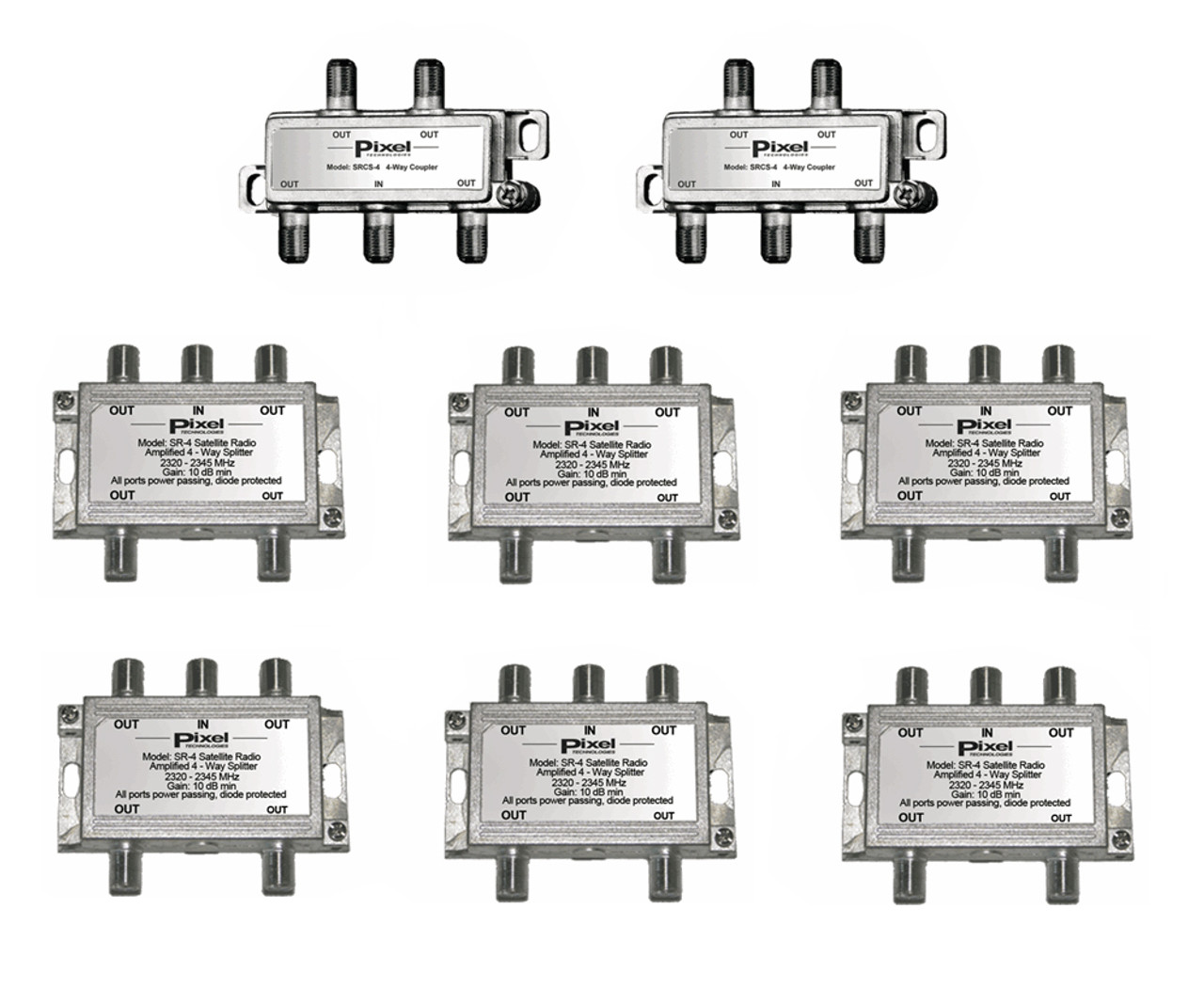 24-Way Splitter System for Satellite Radio Commercial Services