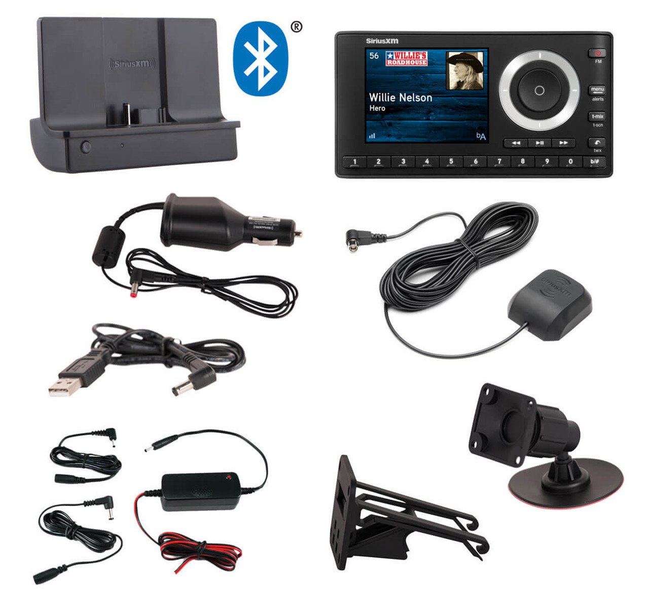 CAR MOUNT KIT For Sirius XM Satellite Radio Truck Dual USB Portable Music Dock