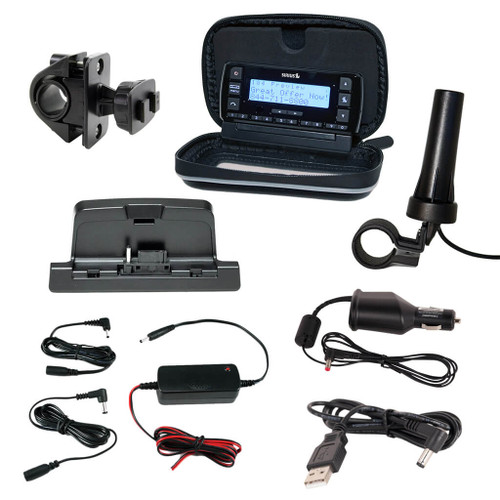 Sirius Stratus 7 motorcycle kit with motorcycle antenna, protective case, handlebar mount, and multiple power options.