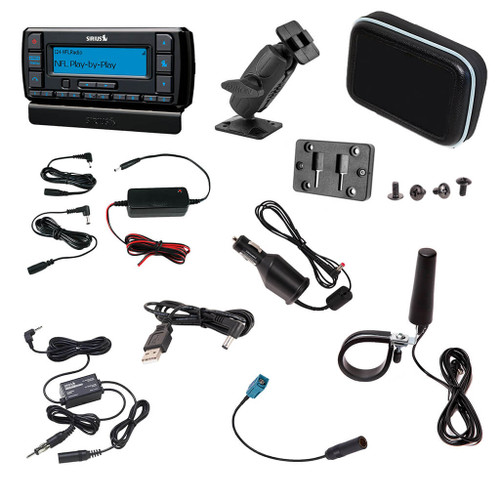 Stratus 7 Sirius satellite radio dock and play receiver with UTV installation kit for Polaris Ride Command and Side x Side vehicles
