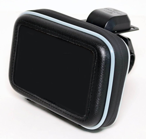 Compact motorcycle kit for SiriusXM with protective weatherproof case, antenna, and handle bar mount