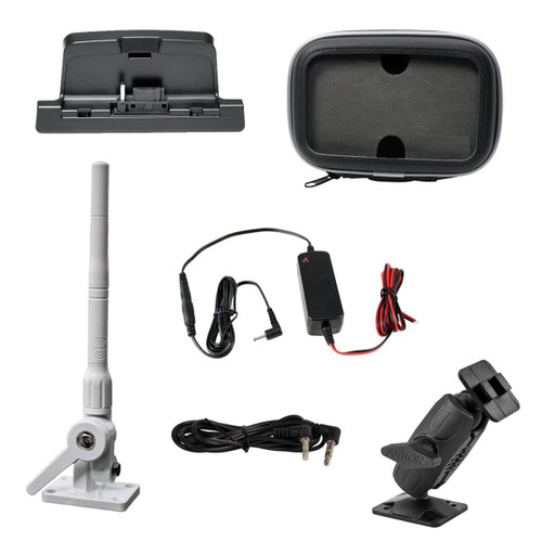 SiriusXM Radio Marine Kit with Mast Antenna protective case hardwired power adapter adjustable mount and aux cable