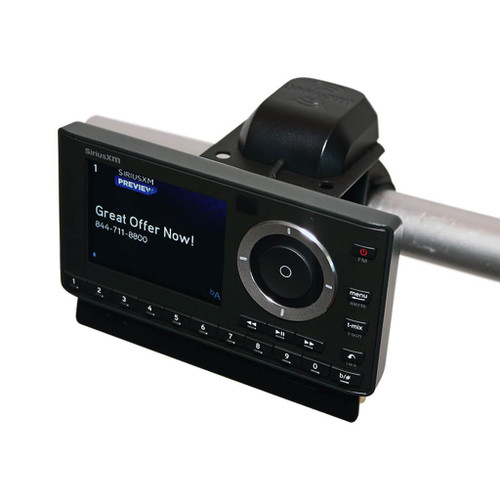 OnyX Plus Satellite Radio Motorcycle Kit with docking cradle, power adapters, audio cable, and magnetic antenna