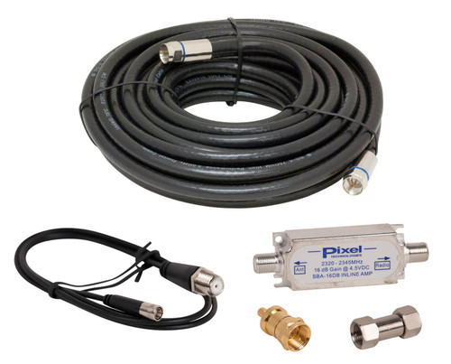 XMPRO100 Satellite Radio 100 foot antenna extension cable with SBA-1 inline amplifier whip cable and connectors.